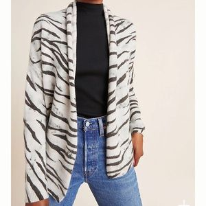 ANTHROPOLOGIE Zebra Cashmere BrochuWalker Cardigan